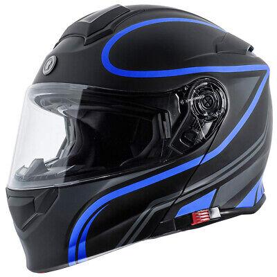 Torc T28 Modular Motorcycle Helmet - Flat Black Vapor Blue - CHOOSE SIZE - Modular Helmet Flat