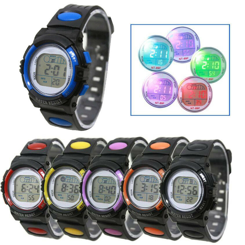 Digital Sport Wrist Watch Led Light Date Alarm Children Kids Boy's Girl's Gift