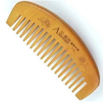 Natural Wide Tooth Peach Wood Healthy No-static Massage Hair Wooden Comb