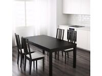 Ikea Bjursta Table Black Brown Expandable Seats 4-8