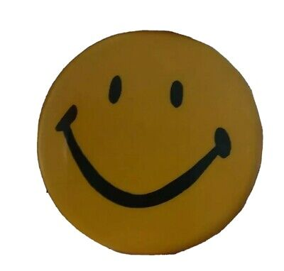 "Large Vintage Happy Face Emotions Round Pin 2.5 "" Hippy Era"
