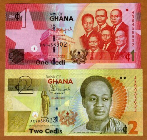 SET Ghana, 1;2 Cedis, 2013-2015, P-37-37Ab, UNC