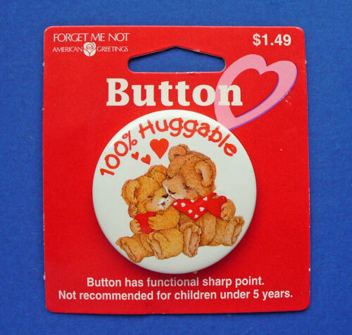 American Greetings BUTTON PIN Valentines Vintage BEAR 100% HUGGABLE Heart NEW