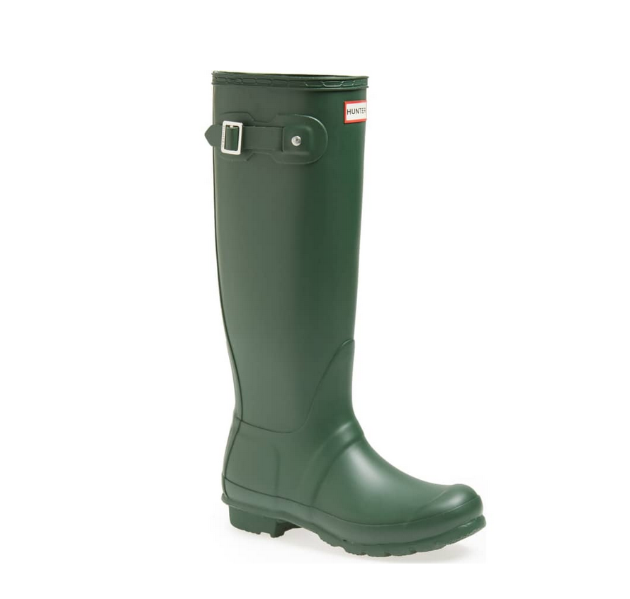 HUNTER Original Tall Waterproof Rain Boot, Green, Sz 10