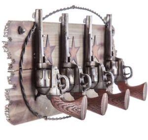 Pistols Western Coat Rack Hook Set Farm House Ranch Home Decor Man Cave