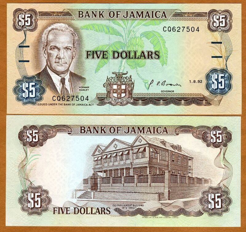 Jamaica, $5, 1992, Pick 70d (70) UNC > Obsolete Denomination