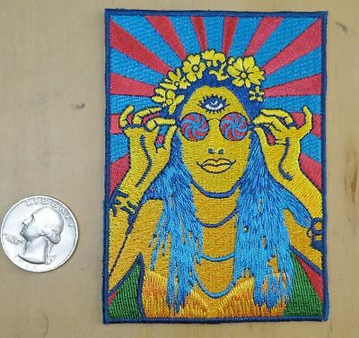 HIPPIE FLOWER CHILD EYE OF HORUS IRON-ON / SEW-ON EMBROIDERED PATCH 2 3/4