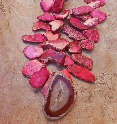 Hot Pink Fuschia Gold Vein Turquoise Big Agate Druzy Geode Gem Pendant Necklace