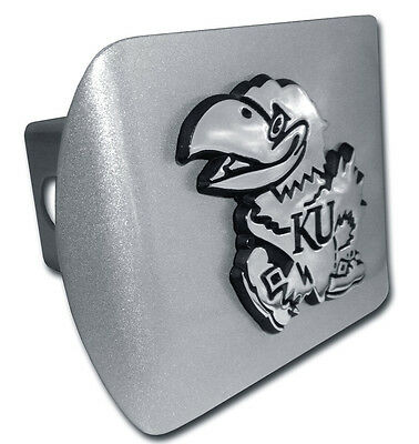 Kansas University Jayhawk Logo Brushed Chrome Trailer Hitch Cover Made In Usa