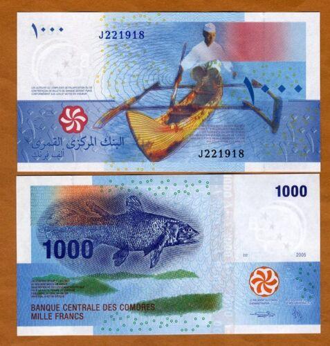 Comoros, Comores 1000 Francs, 2005, P-16b, UNC > Coelacanth