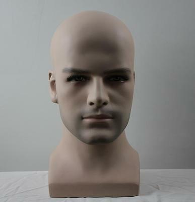 High Quality Realistic Fiberglass Male Mannequin Dummy Head For Hat And Wig