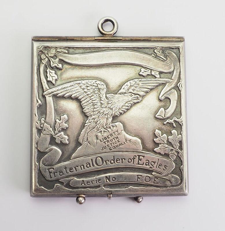 Vintage sterling silver Masonic Fraternal Order of Eagles pendant locket