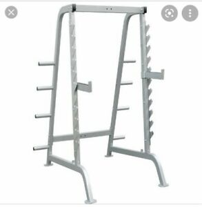 Impulse squat/power rack with lat pulldown attachment