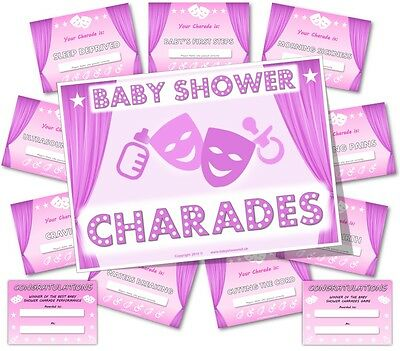 Baby Shower Charades (Baby Shower Party Games     BABY SHOWER CHARADES   -  Girl / Pink)