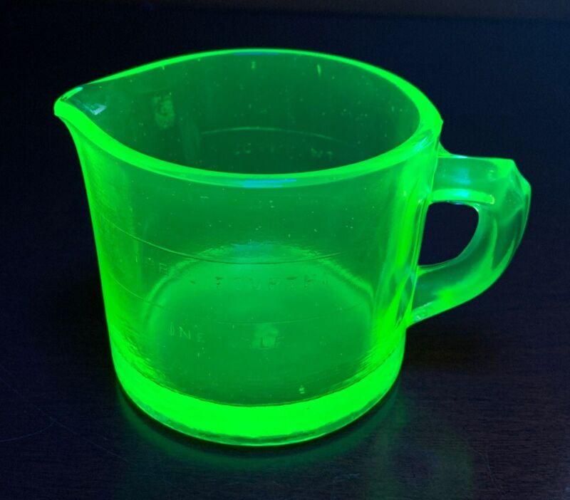 Westmoreland Green Vaseline Glass Measuring Cup