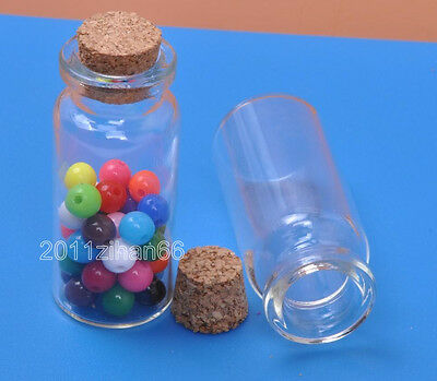 6pcs Vials Clear Glass Bottles with Corks Empty Sample Jars Small 60x22mm