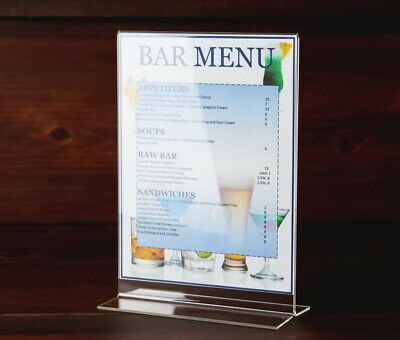 Acrylic Clear Card Menu Flyer Picture Holder Paper Display Table Stand 5 X 7