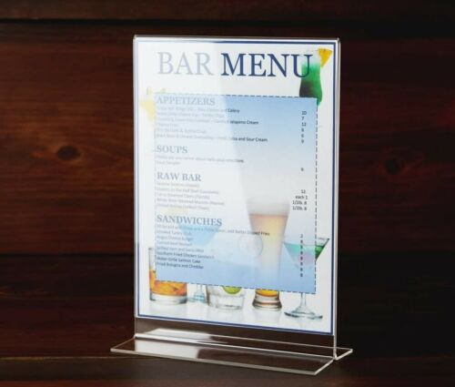 "Acrylic Clear Card Menu Flyer Picture Holder Paper Display Table Stand, 5"" x 7"""