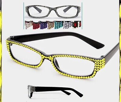 Crystal Rhinestone Rectangular Reading Glasses Optical Frame Lens Brown Black