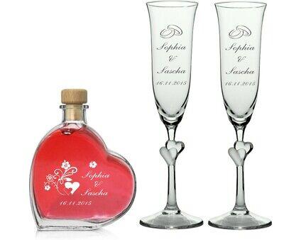 Zwei Sektgläser Herz L'AMOUR inkl Herzflasche, Gravur,Wunschgravur,Wunschtext 1 Flasche Gläser