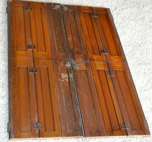 Antique Arts Crafts Mission Oak Cathedral Interior Window Shutters 28 1 2 X 40 Ebay