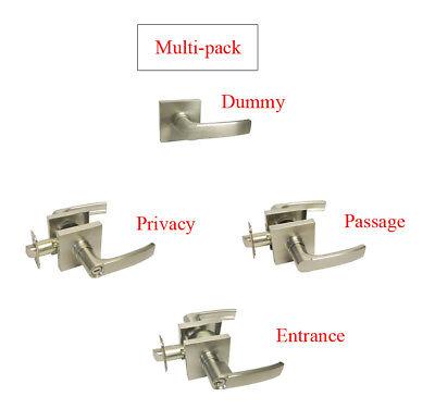 Satin Nickel Square Door Lever Locks Passage Privacy Keyed Entry Brushed Nickel