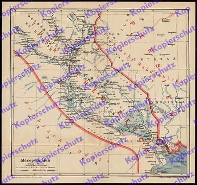 orig Landkarte Bagdadbahn Betrieb Bau Eisenbahn Arabien Orient Mesopotamien 1916