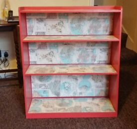 Book Case / Book Shelf Upcycled Hand Painted & Maps Wallpaper