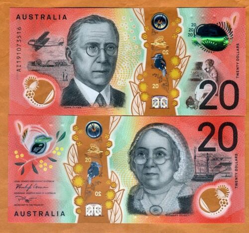 Australia, $20, 2019, Polymer, P-New, UNC > Ship, Airplane > Redesigned