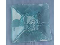 Set of 9 Green Glass Square Plates 29cm