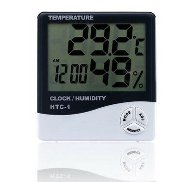 Humidity Thermometer - Digital LCD Thermometer Hygrometer Temperature Humidity Meter Gauge Clock White