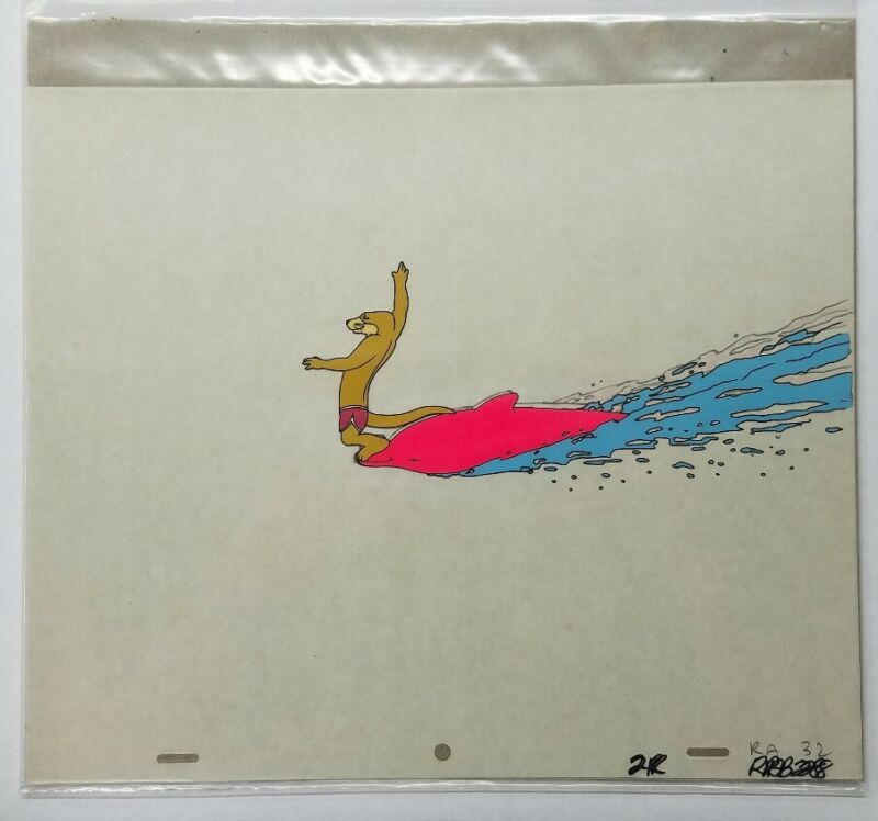 ANIMALYMPICS Hand Painted Animation Cel Dean Wilson Underwater W/ Drawing
