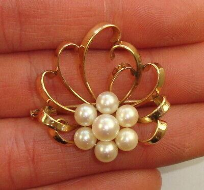 14k Yellow Gold & Akoya Pearl Ladies Brooch, 5.50 covid 19 (Pearl White Gold Brooch coronavirus)