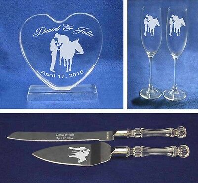 Crystal Western Cowboy Cowgirl Horse Wedding Cake Topper glasses knife Engrave