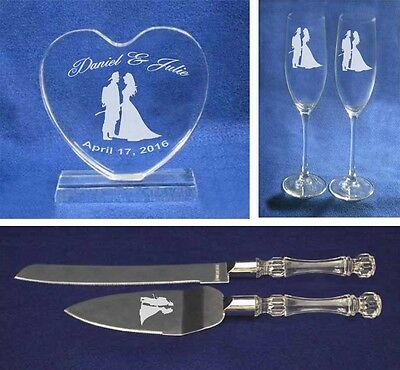 Crystal fireman Wedding Cake Topper glasses knife Engraved FREE firefighter ()