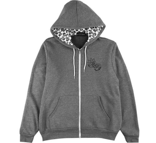 Daylight Curfew Floral Rick and Morty Zip-Up Grey Gray Hoodie Medium DLC New