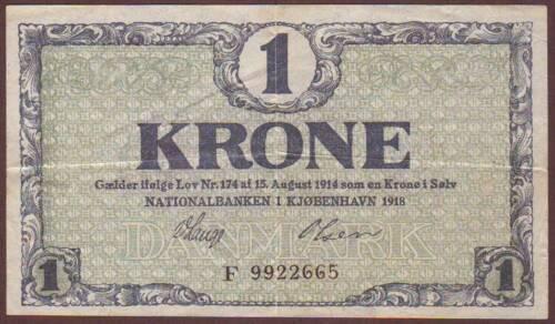 DENMARK  1 Krone  1918   Prefix D