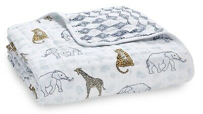 "Aden & Anais Classic Dream Cotton Muslin 47"" x 47"" Baby Blanket Jungle Tropical"