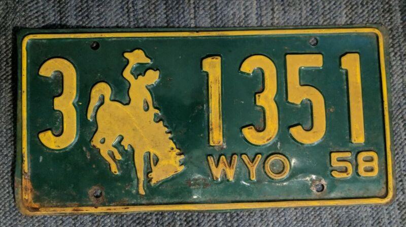 Original 1958 Wyoming License Plate