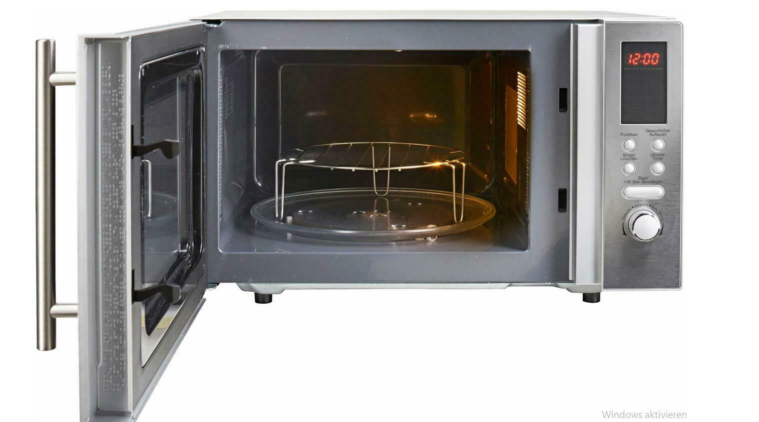 Hanseatic Mikrowelle AS823EBB-P Grill und Heißluft 23 l 3-in-1 Gerät edelstahl