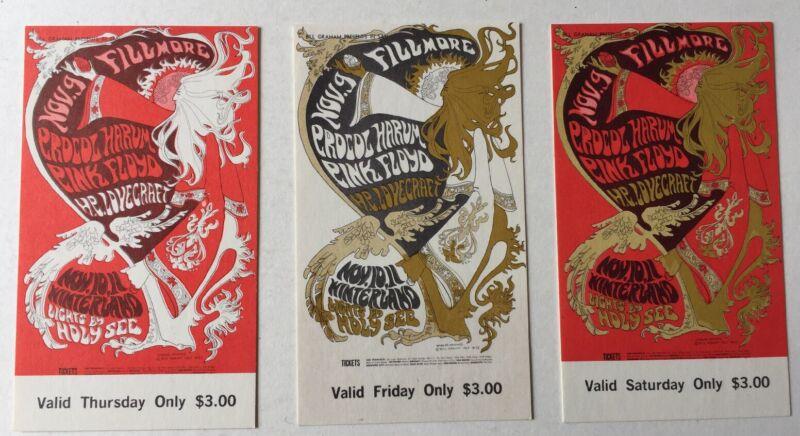 Bill Graham BG 92  Fillmore West And Winterland Set Of 3 Tickets 11/9-11/1967