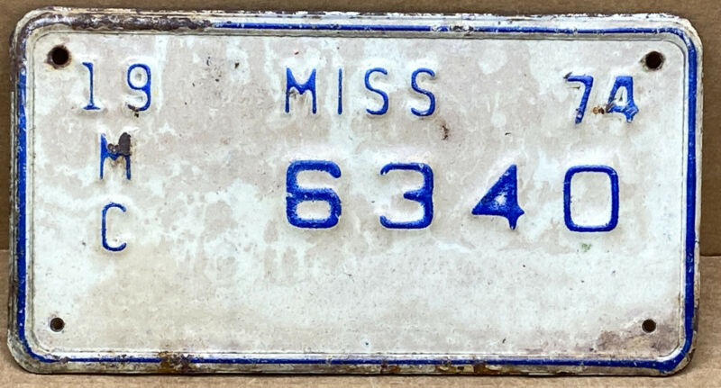 1974 MISSISSIPPI MOTORCYCLE LICENSE PLATE ( 6340 )•VINTAGE