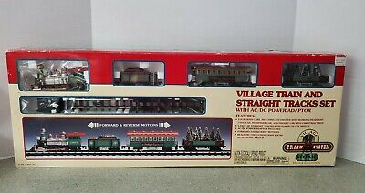 Vintage 1998 Lemax Village Train And Straight Tracks Set With AC/DC Power Adapte