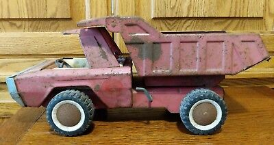 Buddy L Vintage Red Hydraulic Dump Truck Heavy Duty Pressed Steel