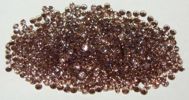 1.75mm to 1.8mm Cambodian Champagne Zircon Diamond Round Cut - 2 Stones