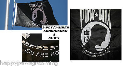 HEAVY DUTY 3x5 USA US POW MIA PREMIUM EMBROIDERED&SEWN 2 PLY 2-SIDED FLAG Banner