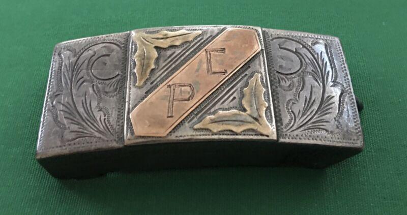 VTG Antique Western STERLING SILVER 💥10k & 18K GOLD💥 Monogram PC BELT BUCKLE