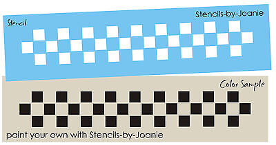 Primitive 3 row Check Border Stencil Country Folk Art Home Decor Gameboard 1/2