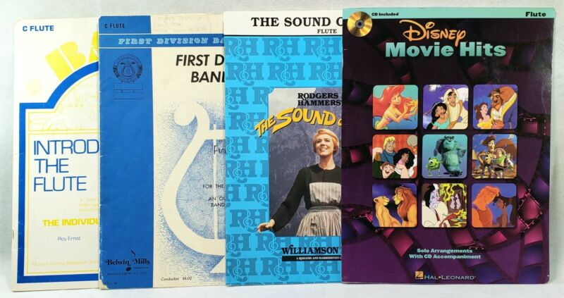 Lot Of 4 FLUTE Band Music Instruction Books School Instrument Disney