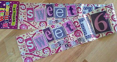 16th Birthday Banner Pink SWEET 16 2.5m Long can be split into 3- 16th Birthday